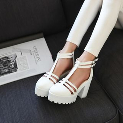 Shoes Galore - Chunky Heel T-strap Sandals