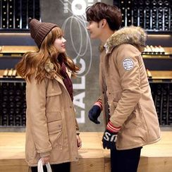 uninukoo - Couple Matching Faux Fur Trim Padded Parka