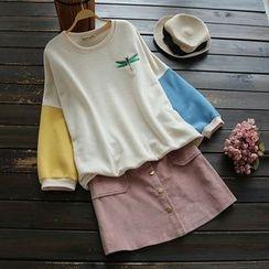 YOYO - 刺绣配色套衫