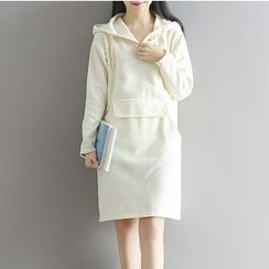 Frockly - Plain Pocketed Hoodie Dress