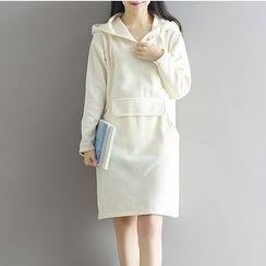 Frockly - 純色口袋連帽連衣裙