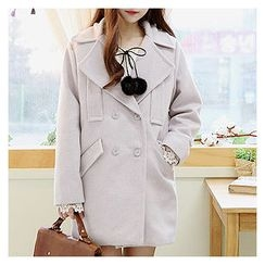 Sechuna - Double-Breasted Wool Blend Coat