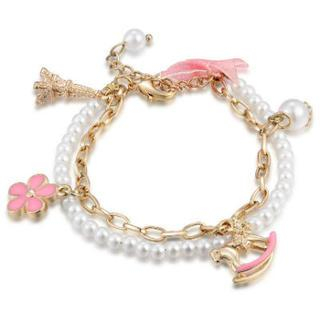 MBLife.com - Rocking Horse Charm Bracelet - Deer, Rose, Key, Lock & White Flower (6.5')