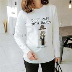 JOAMOM - Round-Neck Lettering T-Shirt