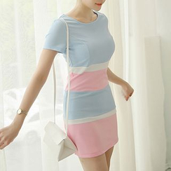 Q.C.T - Color Block Short-Sleeve Sheath Dress