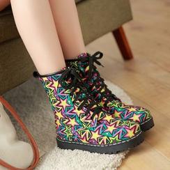 TULASI - Star Print Lace-Up Short Boots