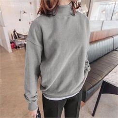 JOAMOM - Turtle-Neck Drop-Shoulder T-Shirt
