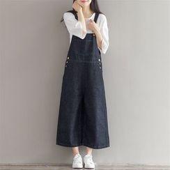 Epoch - 短款宽身背带牛仔裤