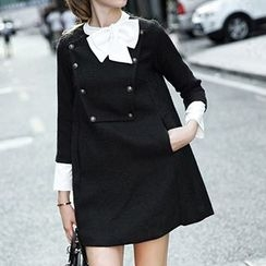 Athena - Long-Sleeve Buttoned Bowed Dress