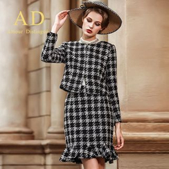 Aision - Set: Houndstooth Jacket + Ruffle Skirt