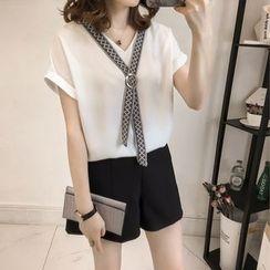 Little V - Embroidered Neck Tie V-Neck Short-Sleeve Top