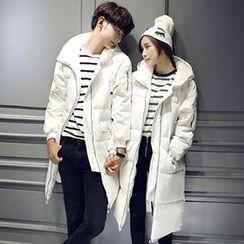 Lovebirds - Plain Hooded Padded Couple Coat