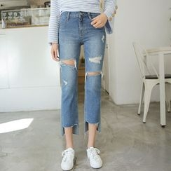 Envy Look - Distressed Straight-Cut Jeans