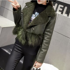 Honeydew - Notch Lapel Fleece Lined Faux Leather Jacket