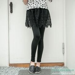 OrangeBear - Inset Lace Skirt Leggings
