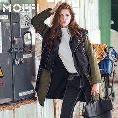 MOFFI - 套装: 长款连帽夹克 + 仿皮马甲