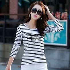 Zyote - Letter Stripe Long-Sleeve T-shirt
