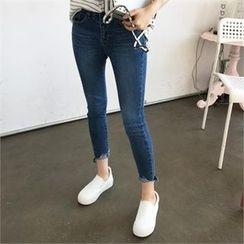 QNIGIRLS - Fray-Hem Skinny Jeans