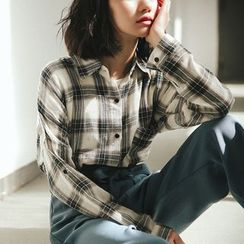 SUYISODA - Plaid Long-Sleeve Shirt