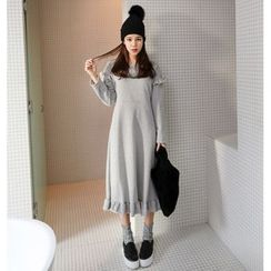 PPGIRL - Frilled-Trim Long Pullover Dress