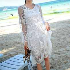 Sewwi - 套裝: 蕾絲七分袖連衣裙 + 背心連衣裙