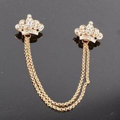 Trend Cool - Rhinestone Crown Chain Brooch