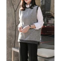 UPTOWNHOLIC - Round-Neck Pattern Vest