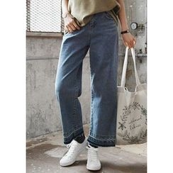 GOROKE - Fray-Hem Washed Wide-Leg Jeans