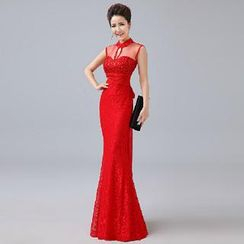 Posh Bride - Sleeveless Lace Embellished Mermaid Evening Gown