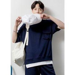 GERIO - Pocket-Front Layered-Hem T-Shirt