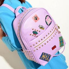 TAIPEI STAR - Appliqué Studded Faux-Leather Backpack