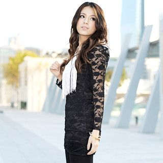 Long-Sleeve Lace Tunic