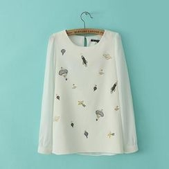 JVL - Embroidered Chiffon Blouse