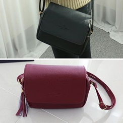Dodostyle - Faux-Leather Tassel-Accent Crossbody Bag