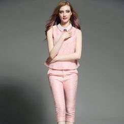歐依潮派 - 套裝: 無袖提花上衣 + 七分褲