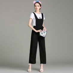 Cherry Dress - Set: Short-Sleeve T-shirt + Plain Pinafore Jumpsuit