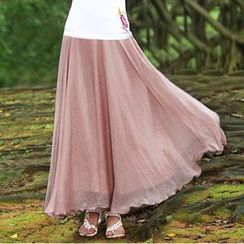 GU ZHI - 纯色长裙