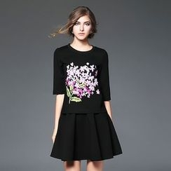 Ozipan - Set: Elbow-Sleeve Embroidered Top + A-Line Skirt