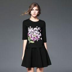 歐依潮派 - 套裝: 五分袖刺繡上衣 + A字短裙