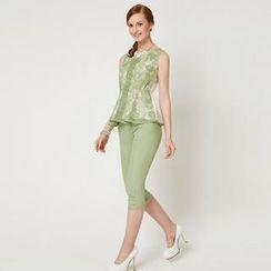 O.SA - Set: Sleeveless Lace Top + Cropped Pants