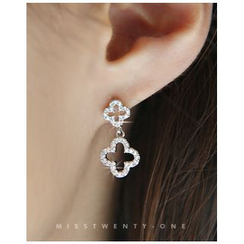Miss21 Korea - Rhinestone Dual-Clover Dangle Earrings