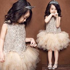 HELLO BABY - 小童鉤織拼接薄紗連衣裙
