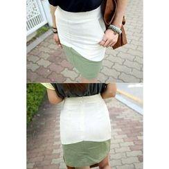 REDOPIN - Linen Two-Tone Zip-Back Skirt