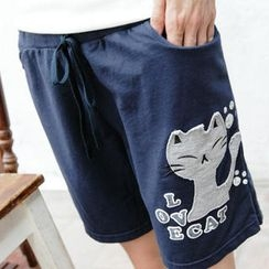 RingBear - Drawstring-Waist Cat-Print Sweat Shorts