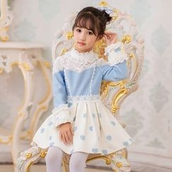 Candy Rain - Kids Lace Panel Long Sleeve Dress