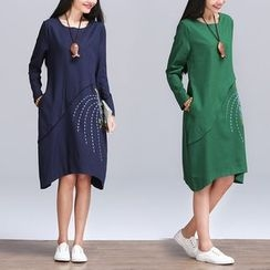 Diosa - Long-Sleeve Embroidered A-line Dress