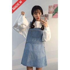 MICHYEORA - Pocket-Front Denim Suspender Dress