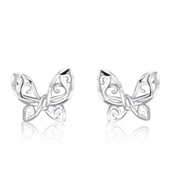 MaBelle - 14K White Gold Butterfly Stud Earrings