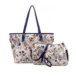 LineShow - Set: Floral Print Tote + Crossbody + Pouch