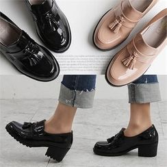 Reneve - Tasseled Block-Heel Patent Loafers